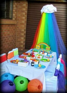Reënboog tema Cloud Party, 3rd Birthday, Birthday Parties, Party Themes, Party Ideas, Balloons, Banner, Lily, Children