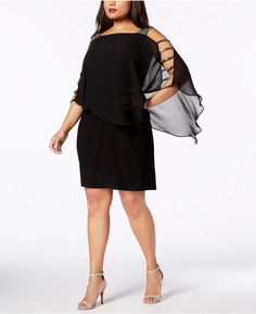 MSK Plus-Size Embellished Chiffon-Overlay Dress - Dresses - Women - Macy's Plus Size Dresses, Plus Size Outfits, Daytime Dresses, Plus Size Activewear, Review Dresses, Dresses With Leggings, Trendy Plus Size, Girl Outfits, Sweaters For Women