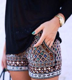 Gorgeous embellished shorts with solid top