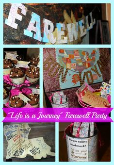 Life is a Journey Themed Farewell Goodbye Party - -book marks -food from their countries -goodbye sucks lolipops Farewell Party Games, Farewell Banner, Farewell Parties, Farewell Gifts, Farewell Coworker, Goodbye Coworker, Farewell Party Decorations, Retirement Party Decorations, Retirement Parties