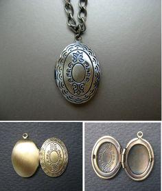 Dainty copper picture locket, filigree locket, copper locket necklace, DIY jewelry, craft supply, memory pendant locket, photo locket