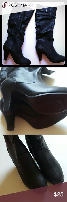 New in box! Black heel boots 8.5 New in box! Never worn boots, all black, zip up. Buckle detail on top of boot. 3 inch heel, great traction on bottom of boot! Size 8.5 Rampage Shoes Heeled Boots