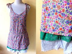 Summer / Spring Sale: floral drop waist sundress (small), sleeveless low waist summer dress by VintageHomage
