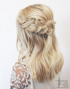 beautiful accent braid with loose weaves on medium length blonde hair braided hairstyles