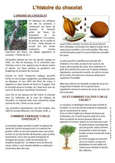 History of chocolate – Easter – Documentary reading – – – Cycle 3 – Pass Education French Flashcards, French Worksheets, French Teaching Resources, Teaching French, French Language Lessons, French Lessons, Cycle 3, Pass Education, French Conversation