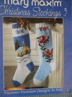 MARY MAXIM CHRISTMAS STOCKINGS 3 To Knit 14 Designs #MaryMaxim