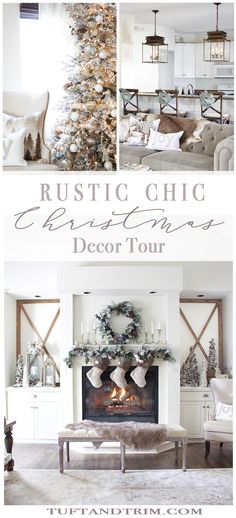 Rustic Chic Christmas Decor Tour. Cheerful Christmas Home Tour Series.