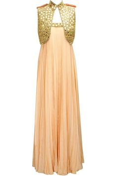 3e285da375 ANNAIKKA Flesh pleated tube dress with gold mirror work short jacket  available only at Pernia's Pop-Up Shop.