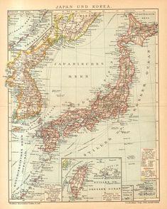 1895 Original Antique Map of Japan and Korea