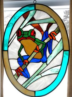 """Stained Glass Frog Themed Window Panel 19"""" 