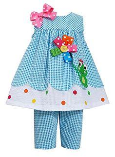Bonnie Jean Little Girls' Turquoise FROG Applique Seersucker Capri 2-pc outfit…