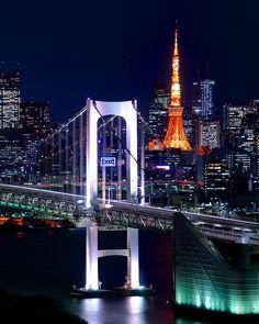 Tokyo Tower and Rainbow Bridge, Japan #voyagewave #japanholidays -->> www.voyagewave.com