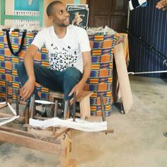 Learning about the Kente cloth production process in Adanwomase village near Kumasi, Ghana