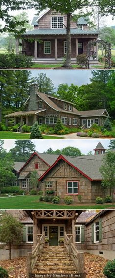 BARK SIDING gives these homes a rustic feel.   Absolutely beautiful.