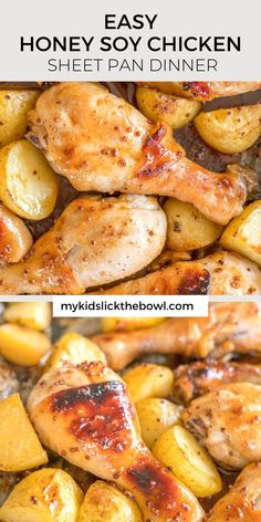 This honey soy mustard chicken and potato tray bake is an easy recipe using drumsticks or chicken pieces #traybakes #easyrecipe #chickenrecipe #chickendinner #onepandinner #onepanmeal