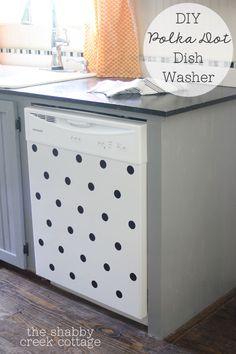 DIY Polka Dot Dishwasher - so cute! from the Shabby Creek Cottage -Skye