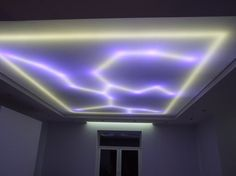 transparent stretch ceilings for living room with ceiling LED lights.