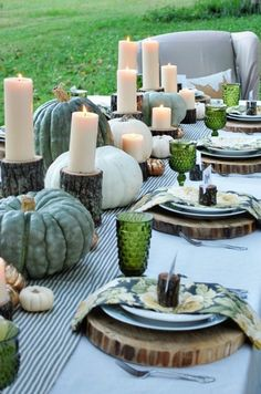 gorgeous fall table setting! pumpkins, green, grey and neutral colors. So in this season!