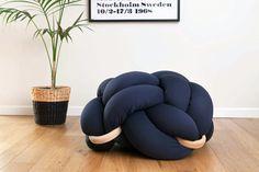 Medium Dark Blue Cushion Knot Floor Pillow Modern by KNOTSstudio