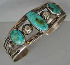 Early Vintage NAVAJO Three Stone Natural Turquoise Bracelet w/Stamped SNAKES