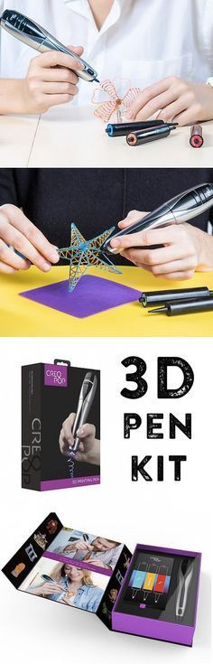 Add dimension to your drawings—literally—with a 3D printing pen. As you draw, a built-in UV light cures the ink, letting you build almost immediately. The ink is cool (not hot like other 3D pens), so it is safer for kids to use.