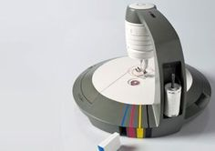 I WANT THIS!! Check out this sewing machine! You load up white thread and the machine dyes the thread to match your fabric color. It does it while you sew. Crazy! I dont sew but this is pretty awesome