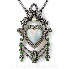 Antique Opal, Diamond and Demantoid Garnet Necklace