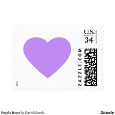Purple Heart Stamp  Available in three rates and three sizes! Also available in many colors! Thanks for looking!  @zazzle #stamp #postage #heart #valentines #day #holiday #send #letter #invitation #love #feeling #emotion #fun #sweet #nice #joy #peace #happy #shape #design #orange #blue #green #yellow #purple #buy #shop #sale #mail #mailing #friend #family #greeting