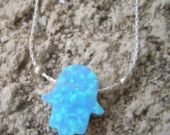 Opal hamsa israeli silver jewelry necklace for protection