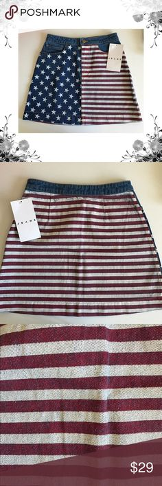 American Flag A-Line Denim Skirt This one is a denim miniskirt that hits well above the knee, has front pockets and a zipper/button fly. Featuring a distressed print—meaning each pair is slightly different than the next. 100% Cotton construction. Small approximately 15 1/2 (39cm) in total length. Bundle for discounts! Thank you for shopping my closet! American Apparel Skirts A-Line or Full