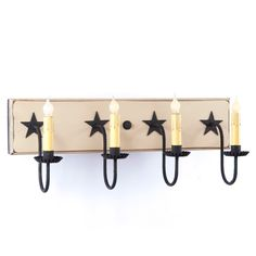 VANITY LIGHT Handcrafted 4 Candle Country Wall Light with Rustic Barn Stars