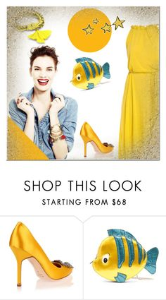 """#yellow"" by aria-star ❤ liked on Polyvore featuring Manolo Blahnik, Danielle Nicole, Robert Rose, yellow and fashionset"