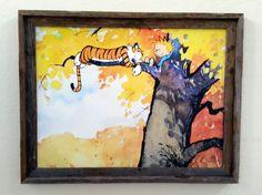 Calvin and Hobbes Autumn Tree & Explorers Reclaimed Beach Wood Framed Canvas 2 Print Set