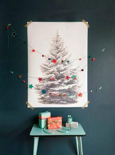 A Modern Christmas - Ikea Tree Fabric & Paper Garland