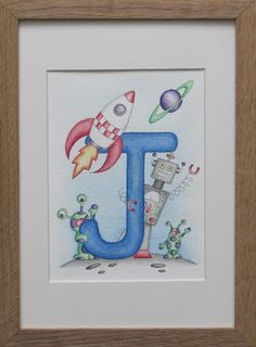 Robot and space initial - letter J Creative Lettering, Lettering Design, Art Drawings For Kids, Cute Drawings, Kids Name Art, Elementary Drawing, Calligraphy Borders, Baby Room Paintings, Summer Camp Art