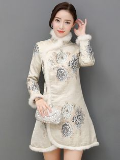 Floral Quilted Qipao / Cheongsam Dress for Winter