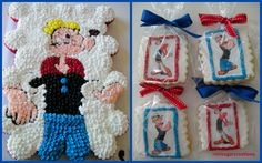 Popeye Cupcake cake and cookies by ronisugarcreations