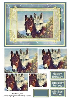 A 5x7 card topper with pyramid layers and choice of sentiments featuring a painting of two gorgeous donkeys.