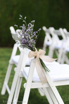 Wedding chair decor - limonium with a simple burlap ribbon