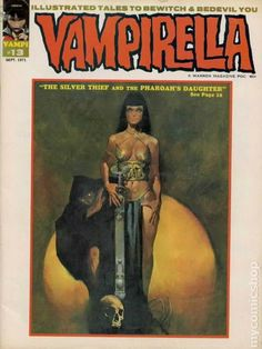 """Vampirella #13. Stories in this issue include: """"Vampi's Feary Tales: LaMiae""""; """"Lurker in the Deep"""" (the continuing adventures of Vampirella); """"From Death's Dark Corner""""; """"The Silver Thief and the Pharoah's Daughter""""; """"The Frog Prince""""; and """"Eye of the Beholder."""" Written by Gerry Conway, Bill Dubay, Archie Goodwin, Dean Latimer, and Gary Kaufman. Art by Jose M. Bea, Bill Dubay, Jose Gonzalez, Steve Hickman, and Gary Kaufman. Includes report on The First Annual Warren"""