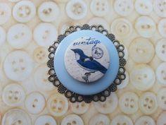 Vintage blue bird inspired layered button brooch by maxollieandme