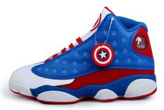 Captain America Jordan's | Jordan Captain America 2014 Nike New Jordan 13 XIII Retro Mens Shoes ...
