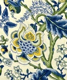 Image result for blue yellow waverly print fabric