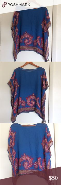 Talbots Silk See Through Blouse Cover Up Size  S/M Talbots Silk See Through Blouse Cover Up Size  S/M! 100% Silk material. Open batwing Sleeve cover up Blouse. Super cute designs on the top! Great condition, only worn a few times!! Talbots Tops