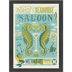 I pinned this Seahorse Saloon Wall Art from the Accents Under $75 event at Joss and Main!
