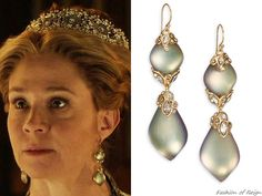 """In the episode 3x12 (""""No Way Out"""") Queen Catherine wears these sold out Alexis Bittar Imperial Lucite & Crystal Double-Drop Earrings."""