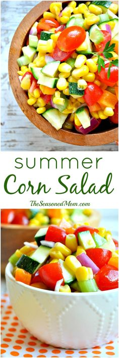 A rainbow of summer veggies make this Corn Salad a perfectly healthy, easy, and delicious side dish for potlucks and cookouts this season! GF and DF, too!