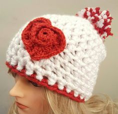 Check out this item in my Etsy shop https://www.etsy.com/listing/491187874/valentine-pom-pom-chunky-white-hat-with