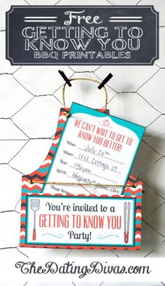"""Getting to Know You""  Free printable invitations, name tags, dish labels, game cards. Perfect to give to your clients or to host a ""Welcome the the neighborhood"" event."