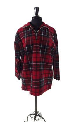 7af92f8eece Details about NEW Chaps Womens 1 4 Zip Buffalo Plaid Polar Fleece Shirt Top  XS 2 S 4 M 8 L  69